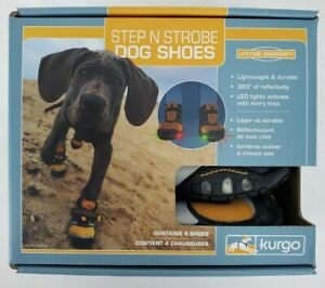 Dog Shoes STEP N STROBE Boots LED lights 01355 KURGO Lightweight Outdoor MED