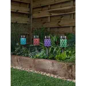 Multicoloured Glitter Geometric Pattern Solar Lights 4 Pack