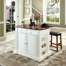 Drop Leaf Breakfast Bar Top Kitchen Island in White Finish with 24-Inch Cherry