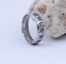 Tibet titanium steel OM Mani Padme Hum Amulet Ring