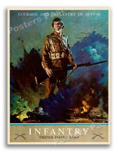 "36""x48"" US Army Infantry ""Courage and Gallantry in Action"" 1943 WW2 Large Poster"
