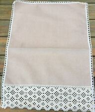 Plain Cream Chenille With Lace Edge Chair Backs and Arm Caps