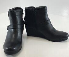 Life Stride Womens Wedge Heel Ankle Booties W/Side Zip Up Black US:8M NEW #