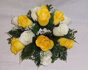 wedding flowers guest table decoration yellow / gold & ivory roses & gyp