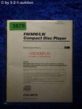 Sony Bedienungsanleitung CDX MP70 CD Player (#3678)
