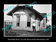 OLD HISTORIC PHOTO OF MOUND RIDGE KANSAS, MISSOURI PACIFIC RAILROAD DEPOT c1910