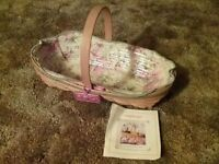 """Longaberger Basket 2001 May Series """"Peony"""" with Liner & Protector & Tie On"""