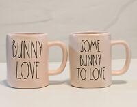Rae Dunn Set Of 2 Pink BUNNY LOVE & SOME BUNNY TO LOVE Easter Mugs.