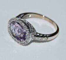 Faceted PINK ROSE QUARTZ & DIAMOND RING - 14K White Gold Cocktail Ring  (4Z15)