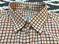 Peter Millar Men's Orange Check Button Front Dress Shirt SZ Large