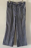Vintage 1960's Womans Striped Bell Bottoms With Pockets