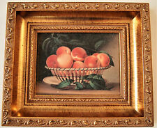 Vintage Wood Framed Reproduction on Wood Panel Still Life ''Bowl of Peaches'' af