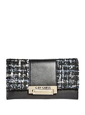 NEW G BY GUESS CARINE BLACK FAUX LEATHER+BLUE FABRIC TRI-FOLD WALLET,CLUTCH