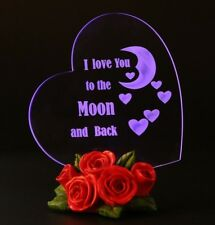 Valentines Day Gift For Her Wife I Love You To The Moon And Back Heart LED Light