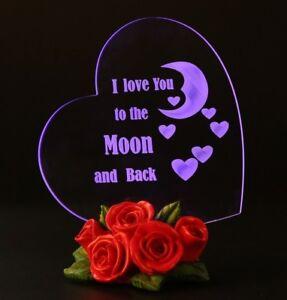 LED Light Gift Woman Girlfriend Wife Mom Love Heart Anniversary Birthday Present