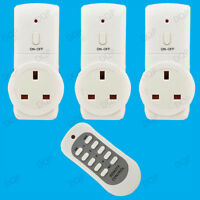 3x Wireless UK Plug-in Mains Remote Controlled Energy Saving Sockets Switch Set