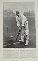 1896 Original Sporting Aufdruck & Text Kricket Mr A.E.Stoddart Hampstead Club