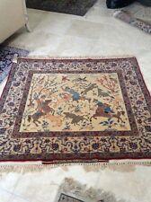 Authentic Hossein Seirafian Hunting Scene Hand Made Isfahan Rug Carpet Antique