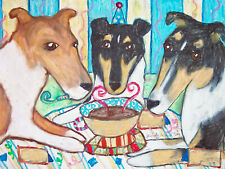Smooth Collie Birthday Party Pop Art Print 8x10 Signed by Artist Dog Collectible