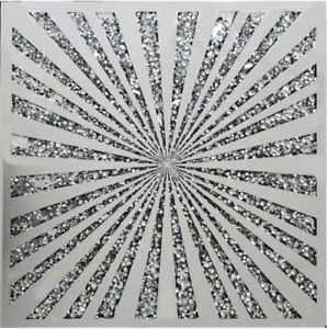 Gatsby Diamond Crush Crystal Sparkly Silver Mirrored Large Wall Art Sunburst