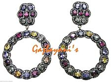 Enchanting Multi Sapphire & Rose Cut Diamond Studded gold silver Earring
