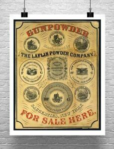 Gunpowder 1850 Antique Firearm Poster Giclee Print on Canvas or Paper