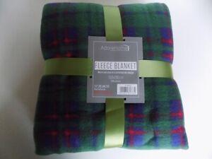Soft and Warm Double Throw 150x200cm Tartan Check Fleece (Green Check)