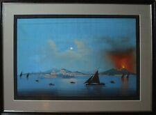 Gouache fine XIX° sec. napoli da Mare naples vesuvio eruzione notturna anonimo