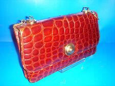 Bolso cartera piel de cocodrilo autentico medidas 28x17x4 cm. con cadena años 50