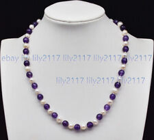 Faceted 8mm Purple Amethyst Gems & 7-8mm White Baroque Pearl Necklace 14-18'' AA