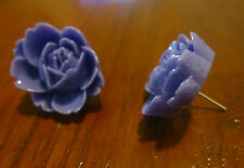 Large Violet Purple Rose Studs. Free Shipping.