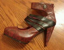 Coogi Australia Runway womens red snakeskin print high heels size 10