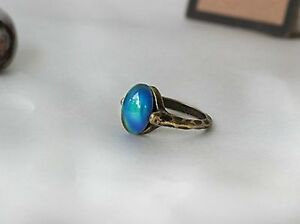 Antique Gold Plating Borderless Oval Stone Mood Ring