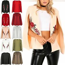 Womens Ladies Rose Embroidered Shawl Collared Open Placket Blazer Coat Cape Top