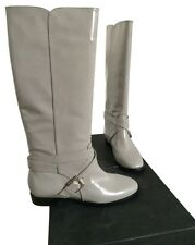 "NEW Marc Jacobs ""Spazz"" Stone Gray Patent Leather Tall Riding Boots 37.5 7.5"