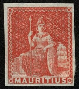 Mauritius 1858 SG28 6d Vermilion Britannia 4m Mint Part o.g. Cat. £70.00