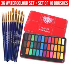 10 Brush Set + Major Brushes Artist Watercolour Paint 36 Blocks Red Metal Tin