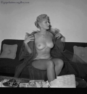 Bunny Yeager 1950s Camera Negative Pretty Nude in Fishnet Stockings Mid Century
