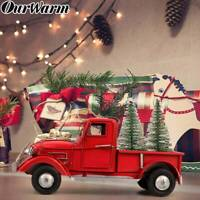Old Red Metal Truck & 2 Mini Christmas Tree Ornament Xmas Gift Toy Table Decor
