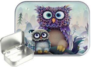 Cute Owl Small Silver Hinged Gift Tin, 30ml Hinged Tobacco Tin, Camping Tin