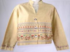 CHICO'S DESIGN 100% Silk Gold Lined Embroidered Jacket Women's Size 1 Med