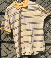 Izod Yellow & Blue Striped Short Sleeve Polo Shirt Top Men's Size XL