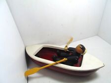 Vintage Woodette Coast Guard Pressed Steel Uscg Wood Figure Toy Rowboat