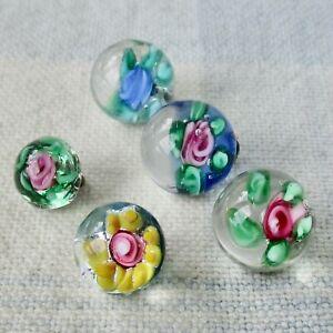 Assortment of 5 Glass Paperweight Ball Buttons