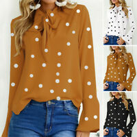 Women Polka Dot Shirt Tops Bowknot V Neck Ladies Blouse Loose Bell Sleeve Tops