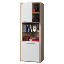 Colonna libreria dispensa vetrina rovere e laccato bianco CL4713 L68h190p45