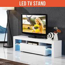 160cm High Gloss White Solid TV Stand Cabinet Unit with FREE LED RGB,2 Drawers