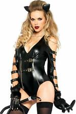 LadiesQuality Sexy 2 Piece Cat Costume Catsuit Body with Tail & Ears Size 10-12