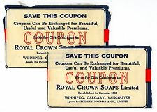 Lot of 2 Royal Crown Soaps Ltd. Coupons - Winnipeg, Calgary, Vancouver Canada