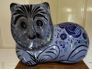 Large Original Vintage Tonala Cat Mexican Folk Art Pottery. Excellent Cond RARE